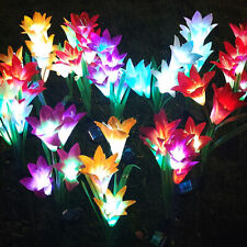 4Head LED Solar Lily Rose Flower Garden Stake Landscape Lights Outdoor Yard Lamp