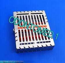 Dental 10 Instruments Sterilization Cassette Tray Racks Orange Turn Lock St-001