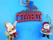 """COWBOY LOT CHRISTMAS ORNAMENTs 2 Hallmark 3"""" Santas & St, Nicholas sq. 4"""" X 5"""""""