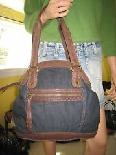 "Lucky Brand  ""Carnaby Street""   Brown Leather/Denim Bowler Bag   EUC   $189.00"