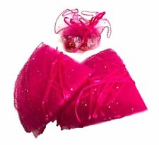 10 FUCHSIA VOILE ROUND FAVOUR WRAPS WITH SPARKLY IRIDESCENT DOTS APP 29CM