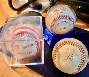 Baseball Major League Lot of (3) Baseballs in their Plastic Cases
