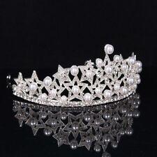 Silver Princess Bridal Rhinestones Crown Pearl Tiara Hair Headdress Wedding