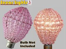 Chandelier Glass Beads Drops Crystals Light Bulb Cover GLS Pink Retro Lamp Shade