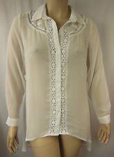 City Chic White Lacey Insert Hi-Lo Button Shirt Top Plus Size XS 14 BNWOT CC825