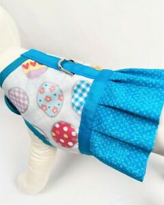 Light Blue Easter Egg Dog Harness Vest Dress With Ruffle Skirt