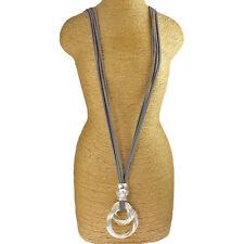 Twisted Anello Ciondolo Grigio Pelle Scamosciata Fashion Jewellery Collana Lunga