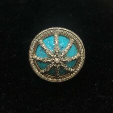 Thomas Sabo Karma Wheel Cocktail Ring Sterling Silver Turquoise CZ TR2025 Om