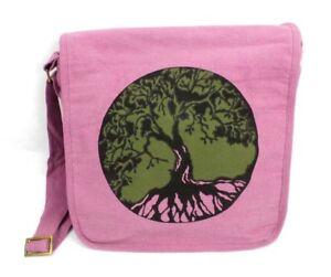 Crossbody Purse Messenger Bag Tree Print Pink Cotton Canvas Shoulder Bag