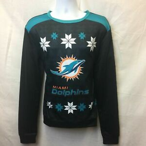 MIAMI DOLPHINS UGLY SWEATER LOOK SWEATSHIRT MEDIUM FREE PRIORITY SHIPPING