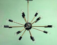 18 Lights Mid-century Brushed Brass And Black Sputnik Chandelier Light Fixture