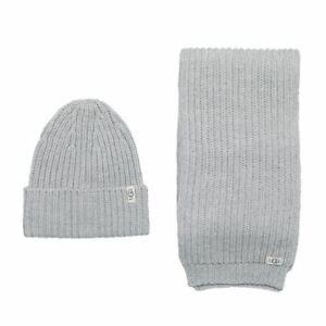 Accessories Kids Girls Ugg Australia Rib Knit Hat & Scarf Set in Grey