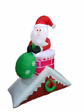 Christmas Inflatable Santa Claus Chimney Roof Light Yard Outdoor Decoration