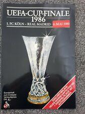 More details for koln v real madrid 1986 uefa cup final