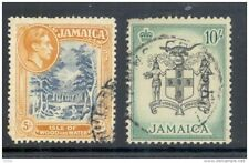 JAMAICA, 1938 5/- and 1956 10/- both have corner fault (D)