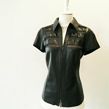 WORTH NEW YORK | Short Sleeved Black Leather Shirt w/ Mesh Detail  – Size 6
