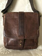 FOSSIL Mens Pebbled Leather Messenger Bag Brown Leather