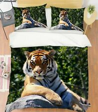 3D Lazy Tiger S15 Animal Bed Pillowcases Quilt Duvet Cover Set Queen King Sunday