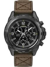 Timex Expedition Rugged Chronograph schwarz, Lederband braun