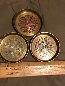 3 vintage 3inch brass enamel cloisonne coasters AshtrayMade In India H.S.Flowers