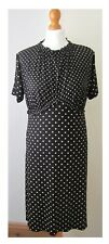 M&S BLACK AND BUFF POLKA DOT VINTAGE STYLE STRETCH DRESS SIZE 14 UK 42 EU  NWT