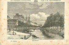 QUIMPER FINISTERE BRETAGNE FRANCE GRAVURE ANTIQUE OLD PRINT 1882