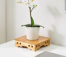 BAMBOO WOODEN PLANT STAND DESK STAND BASE HANDCRAFT SCULPTURE MULTI USE ELEGANT