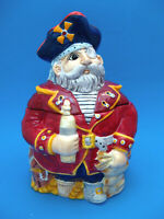 Cookie Jar -  PIRATE with Treasure Chest 2005 Ceramic Snack Jar  New in Box