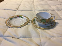 EDENFIELD EXPRESSIONS COFFEE FINE CHINA TEA CUP & 2 SAUCER PLATES LOT SET