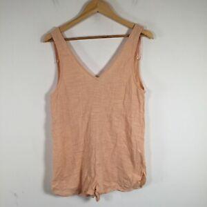 Rip curl womens playsuit romper size S peach orange sleeveless cotton 67.0008