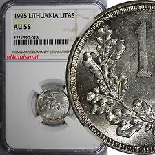 Lithuania Silver 1925 1 Litas NGC AU58 1 YEAR TYPE KM# 76