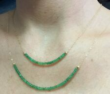 Stacking 7cts double Brazilian Emerald necklaces stamped 14k yellow gold chain