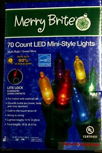 15ft Merry Brite 70-Count LED Mini-Style Christmas Lights Multi-Color Bulb Green