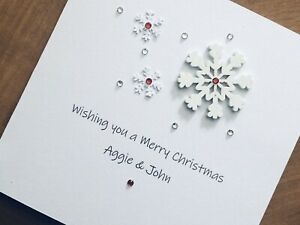 Personalised Handmade Christmas Cards - Wooden Snowflakes 13.5cm X 13.5cm