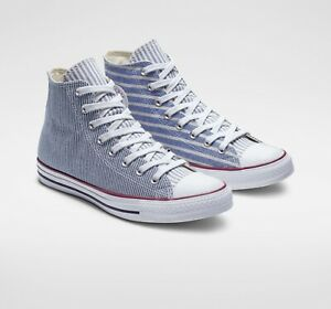Converse Chuck Taylor All Star Stripes High Top Casual Sneaker Shoe Blue Striped