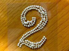 "2 x ""2"" Self Adhesive Stick on Pearl Numbers Diamante Gems Crystals Rhinestones"