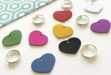 Coloured SMALL Heart Shaped Custom Pet ID Name Tag Cat Dog FREE ENGRAVING/POST