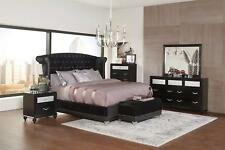 Coaster Furniture Barzini 6 Piece Queen Bedroom Set Black Velvet