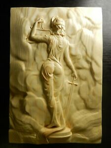 Wood carved picture wall decoration plaque. Themis - goddess of justice.