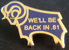 More details for derby county fc original we'll be back in 81 ram brooch pin in gilt 22mm x 15mm