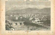 Grenoble Isère FRANCE GRAVURE ANTIQUE PRINT 1882