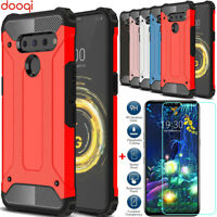 For LG V50 G8 G7 ThinQ 5G/V40/G6 Shockproof Armor Protective Case+Tempered Glass