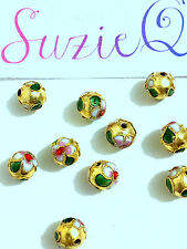 10 Gold Cloisonne Beads Handmade 8mm Round Shape Flower Design Enamel Metal