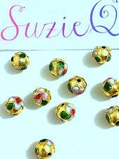 10 ORO CLOISONNE perline fatti a mano 8mm Forma Rotonda Fiore Design metallo smaltato