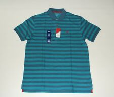 New IZOD Pique Knit Ocean Blue Striped Men's Large Short Sleeve Polo Shirt