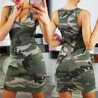 Summer Women Camflouage Mini Bodycon Dress Casual Sleeveless Slim Fit Short 32