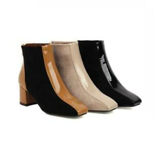 Women Chunky Heel British Patchwork Square Toe Ankle Boots Casual Shoes 34/49 D