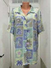 ALIA 14 womens button Short Sleeve Polyester  Floral squares