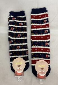 2 Pairs Blue and Red Christmas Socks Snow Santa