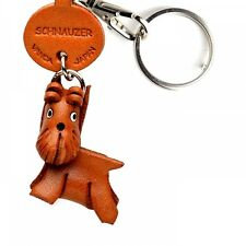 Schnauzer Handmade 3D Leather Dog Keychain *VANCA* Keyring Made in Japan #56754